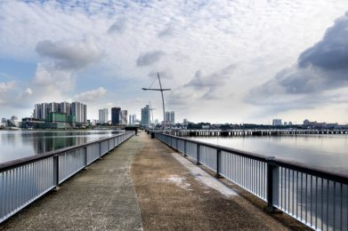 view of Johor Bahru from Woodland waterfront park