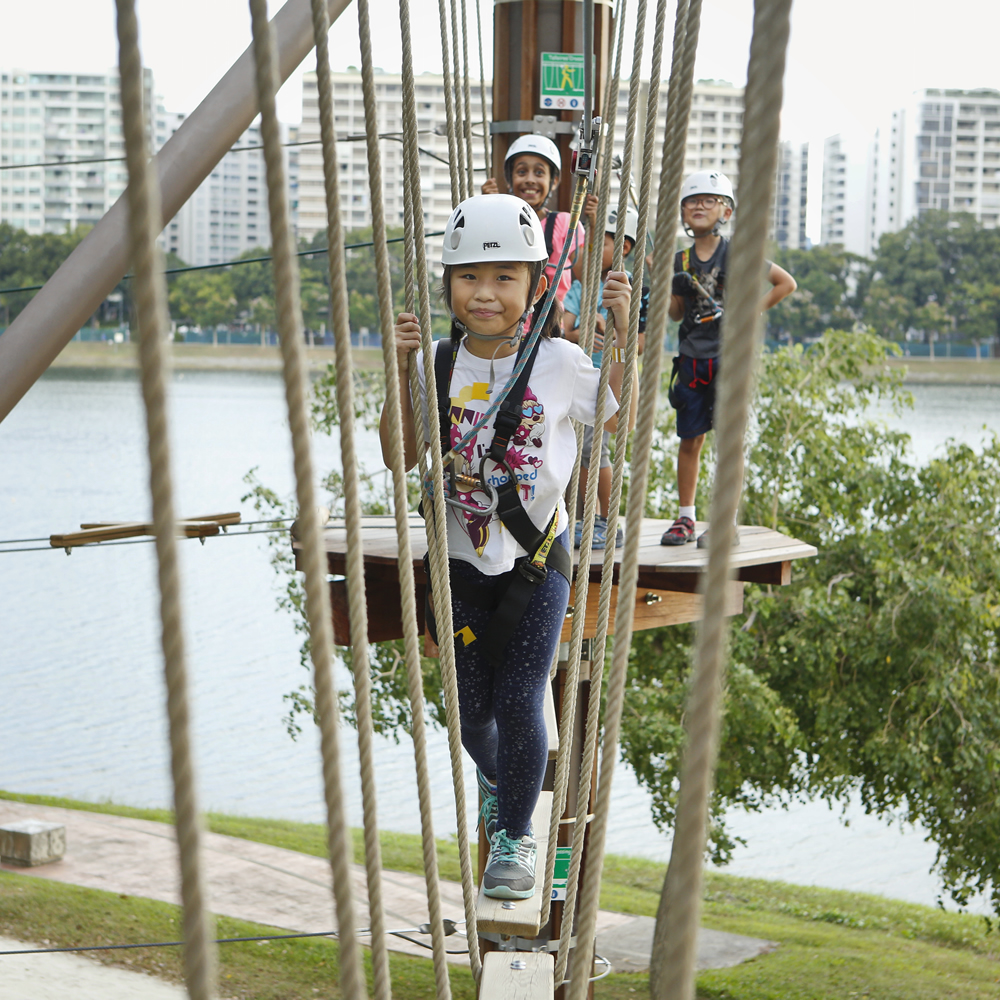 children trying obstacle course at Forest Adventures