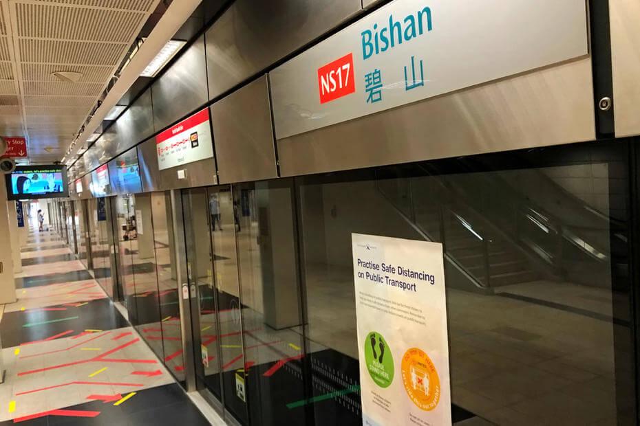 Inside of Bishan MRT station