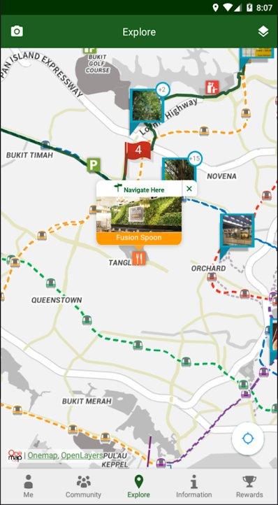 Mobile app of Singapore coast to coast trail