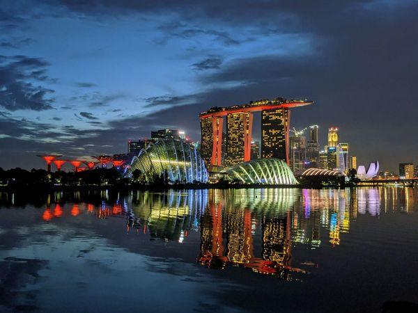 Night view of Gardens by the bay and Marina Bay Sands