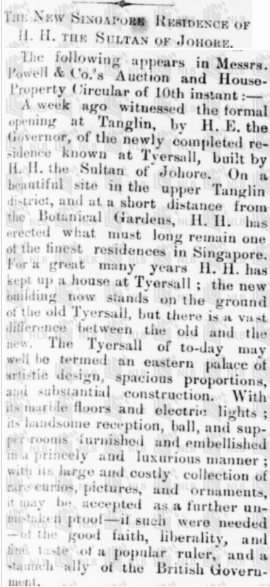 News clipping of Istana Tyersall grand opening in 1892