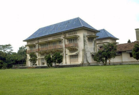 facade of blue-tiled roof at istana woodneuk