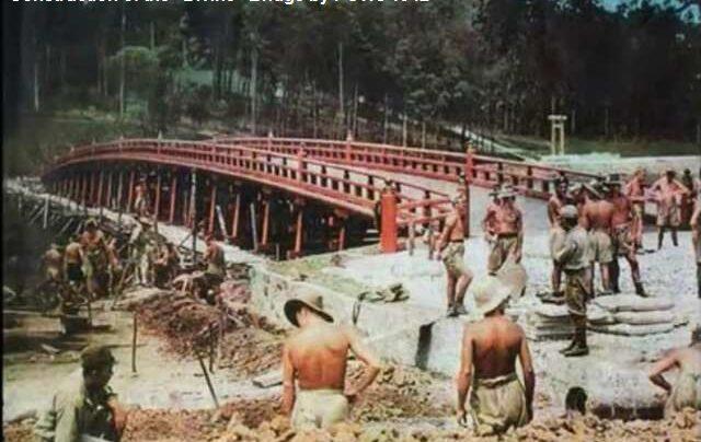 prisoner of war working on divine bridge at syonan jinja in MacRitchie reservoir