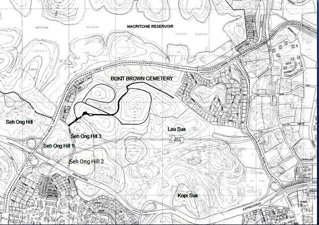 map of old bukit brown cemetery