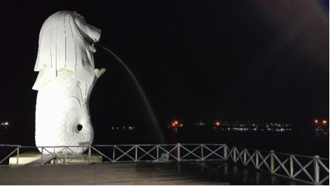 Merlion statue spouting water at Bontang Indonesia