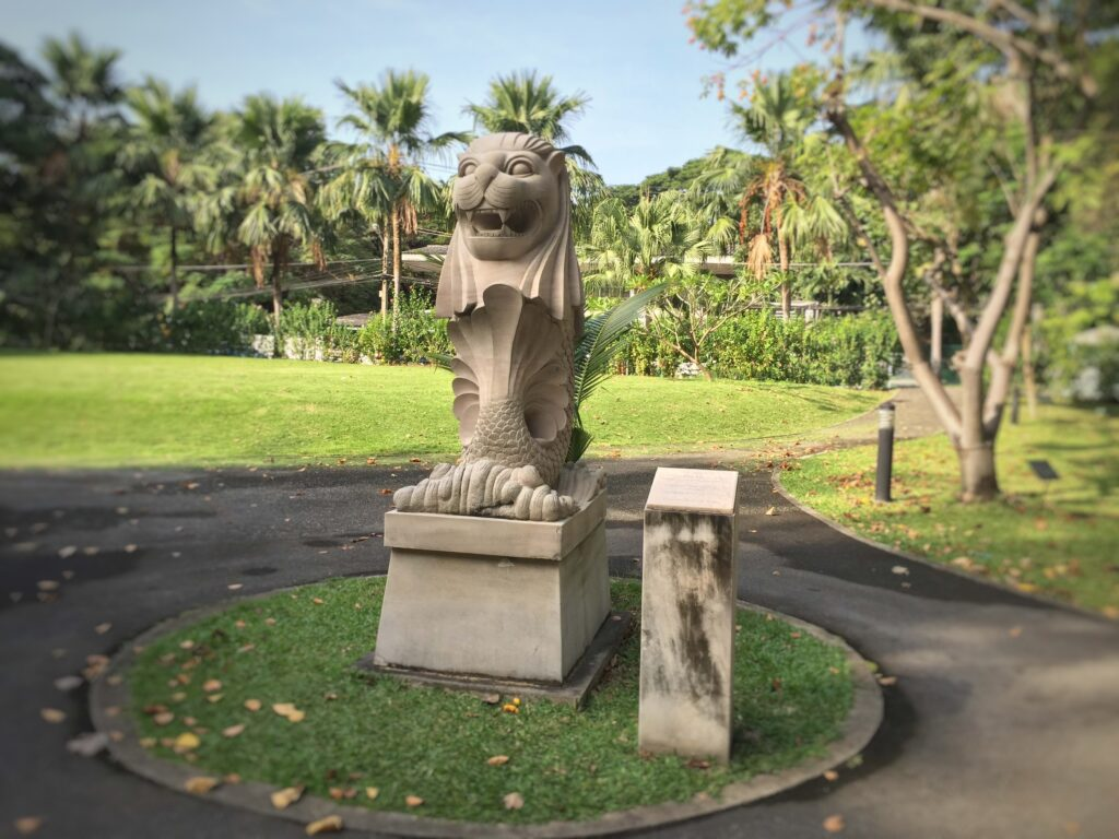 Merlion statue at benjakiti park in Bangkok