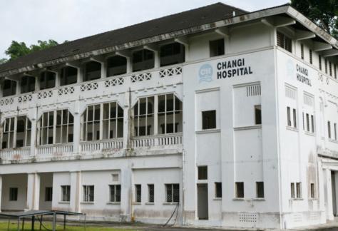 Facade of abandoned old changi hospital