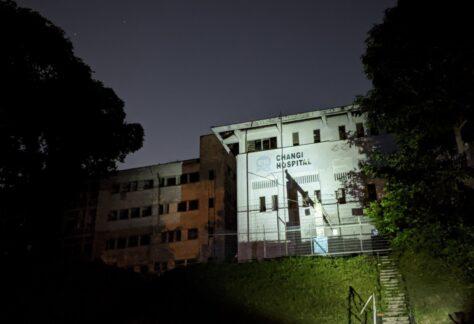 Haunted Old changi hospital facade at night