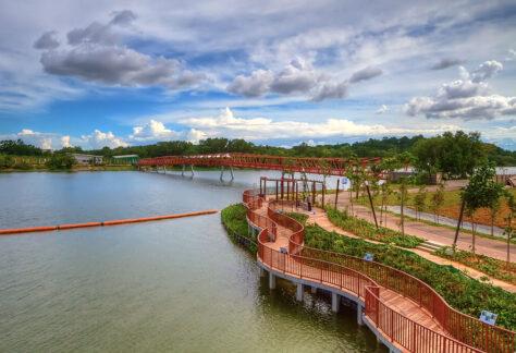 Punggol Waterway Park with red bridge to lorong halus