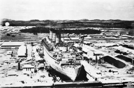 King George at dockyard at Sembawang naval base