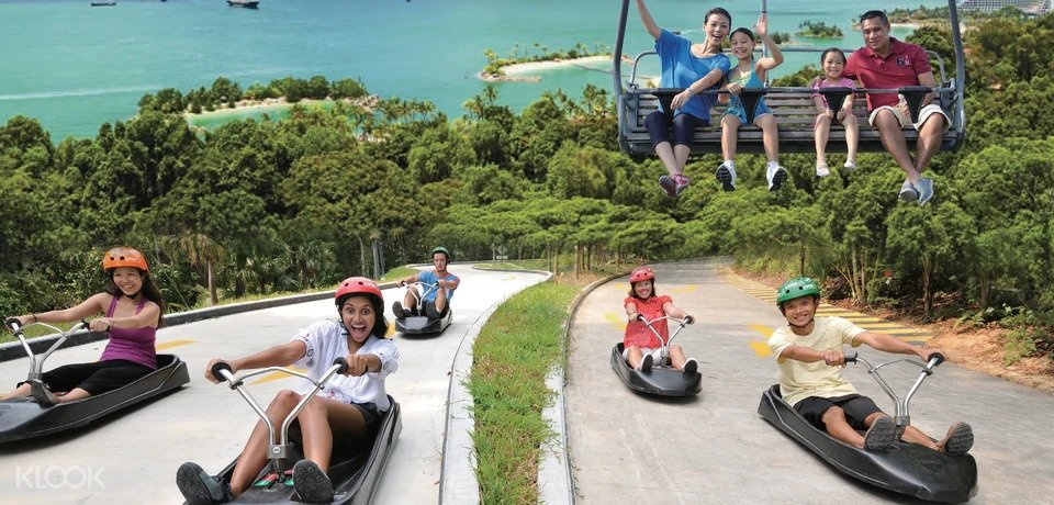Participants taking the luge and skyline ride at Sentosa
