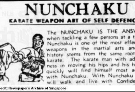 Singapore 1972 nunchaku ban