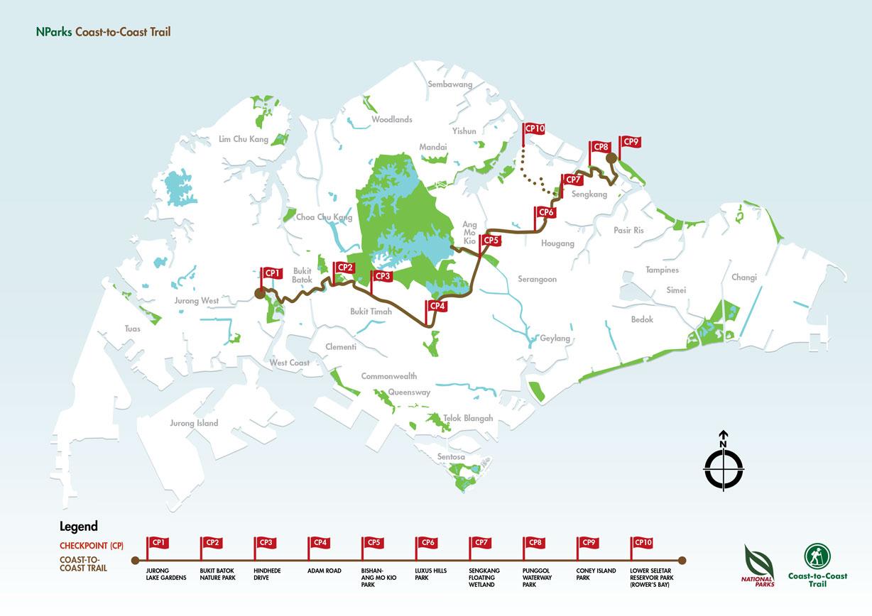 Trail map of Singapore coast to coast trail