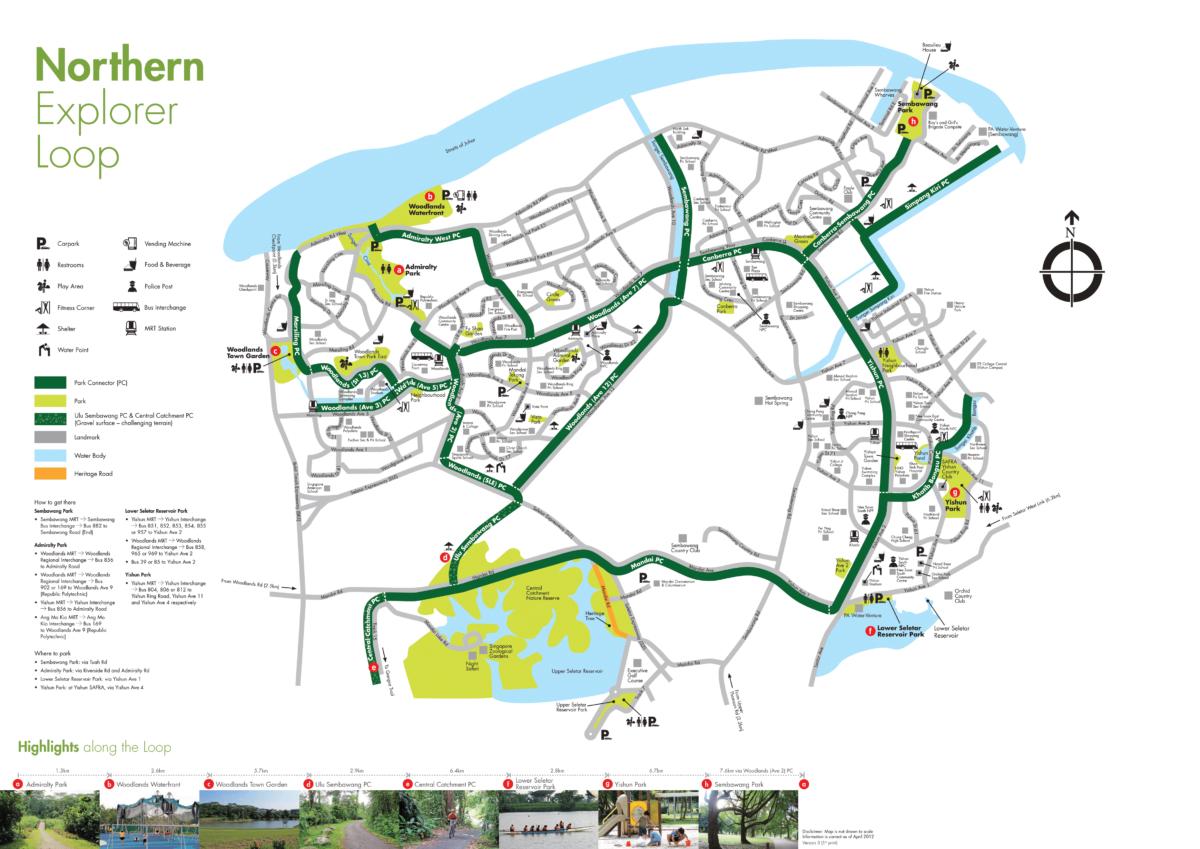 Map of Singapore Northern Explorer Loop