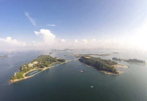 Aerial view of Singapore St John and Lazarus Island