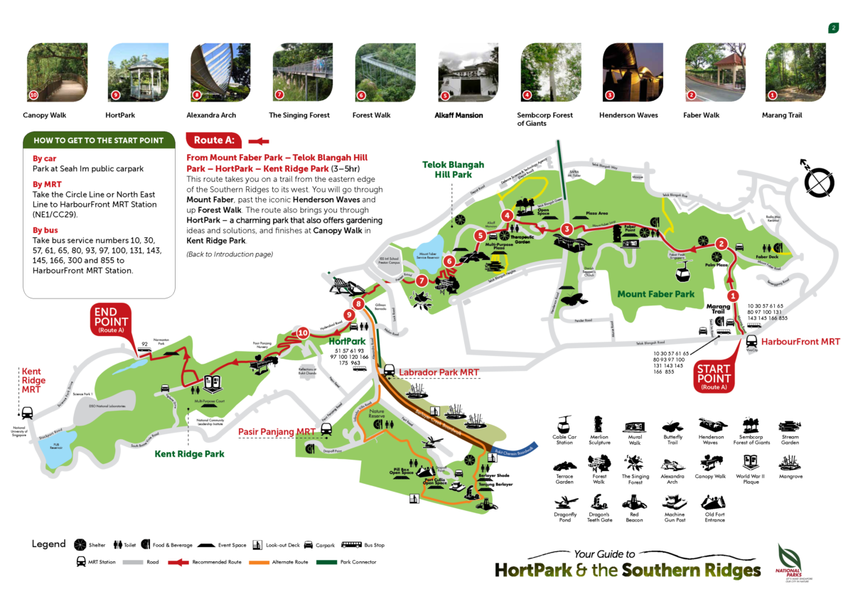 Route A map in Southern Ridges trail