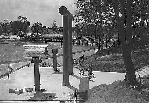 Tori gate at syonan jinja in Macritchie reservoir