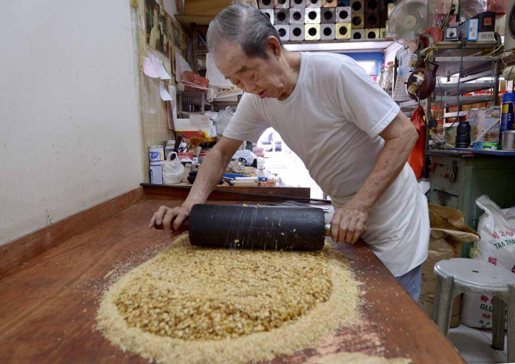 Peanut cake being made at sze thye cake shop