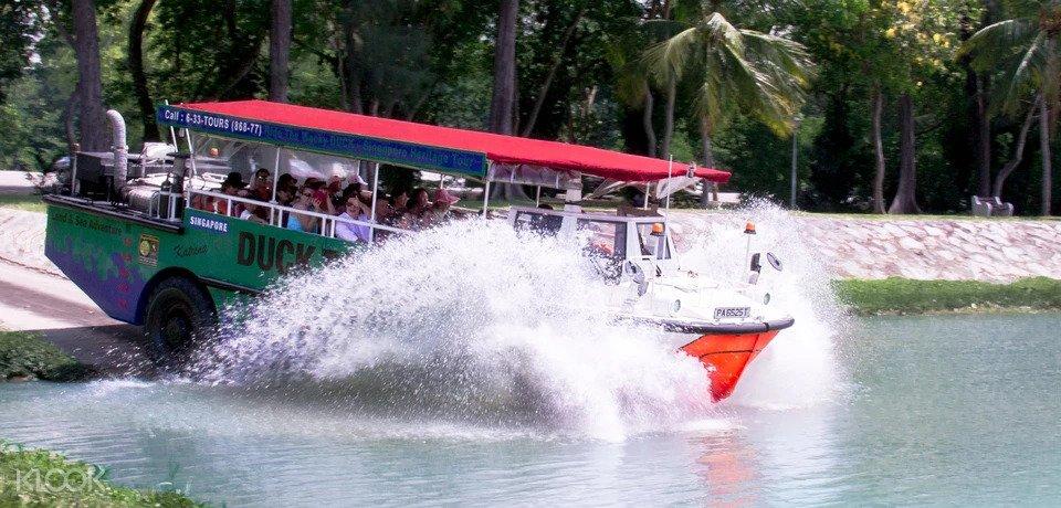 Ducktour entering river in Singapore