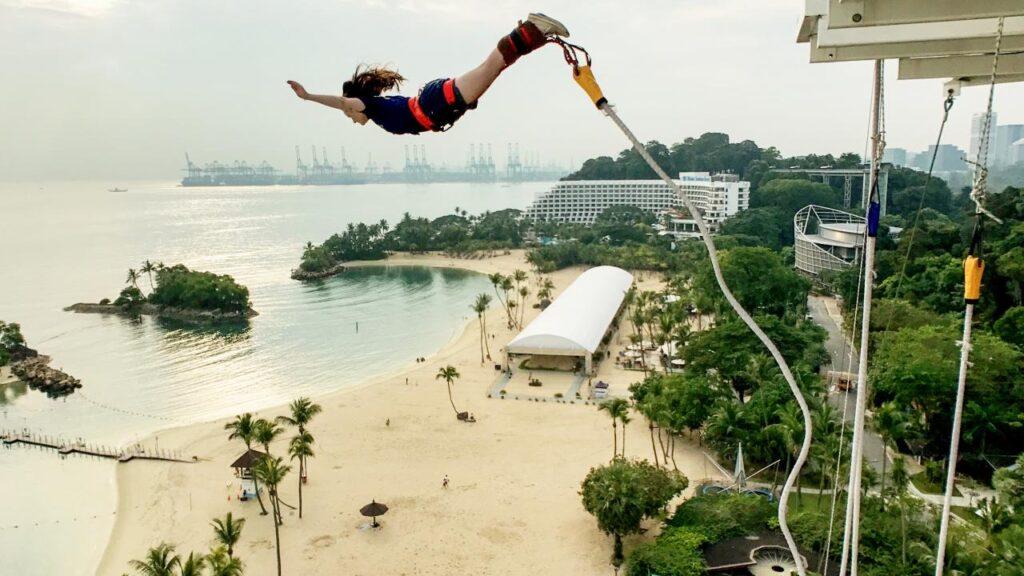 Lady trying bungy jumping at AJ Hackett Sentosa