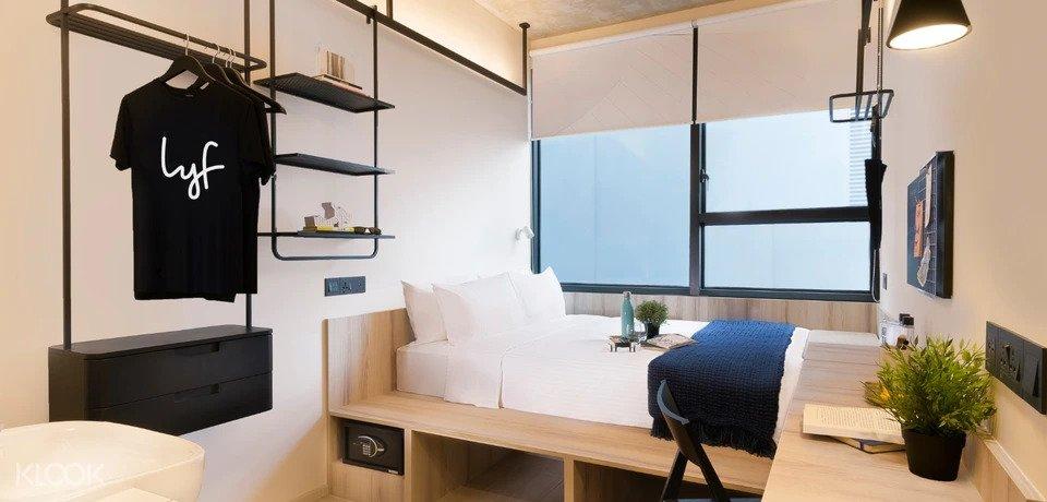 Interior of lyf funan singapore hotel room