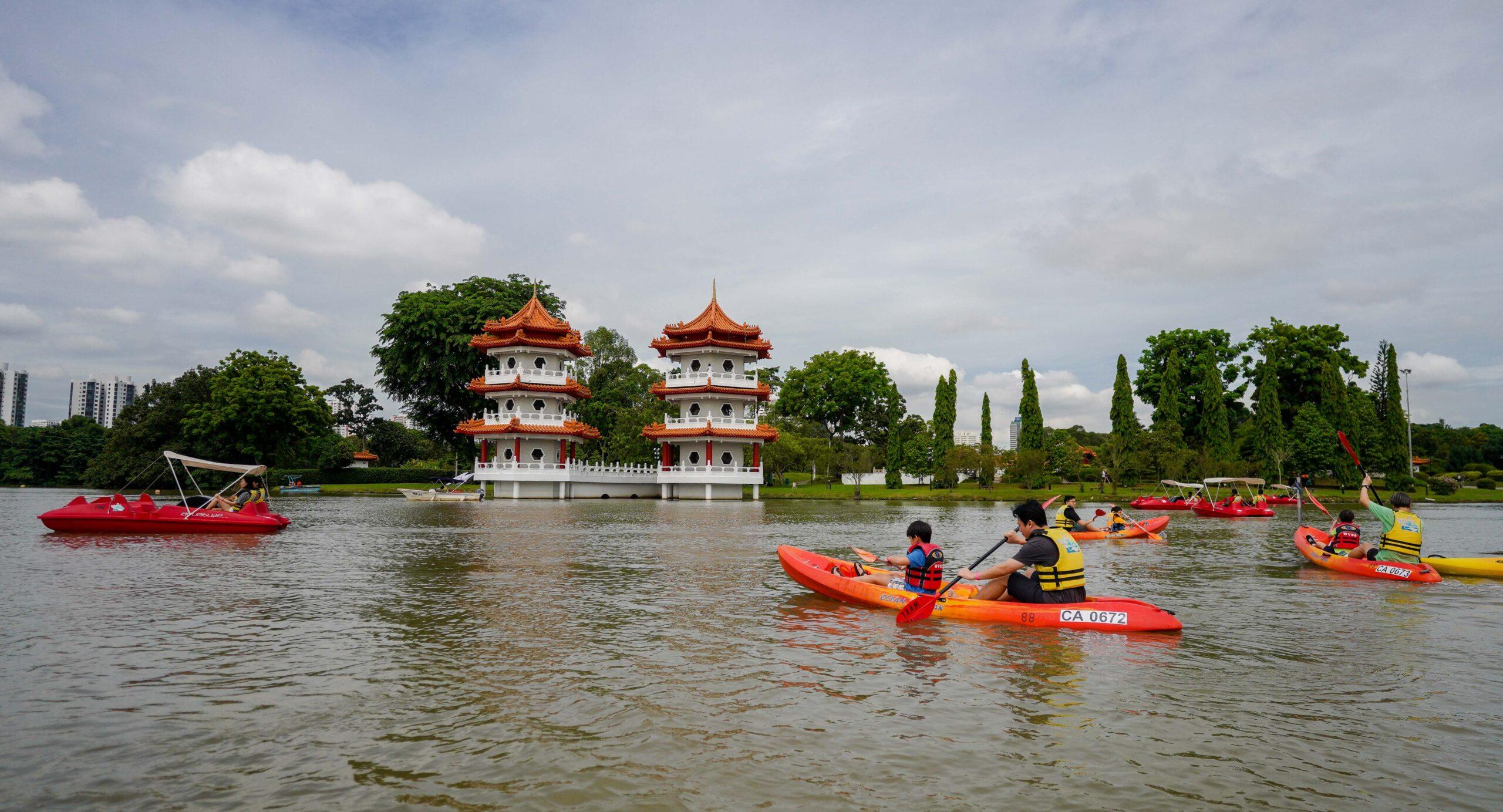 kayakers kayaking at jurong lake gardens
